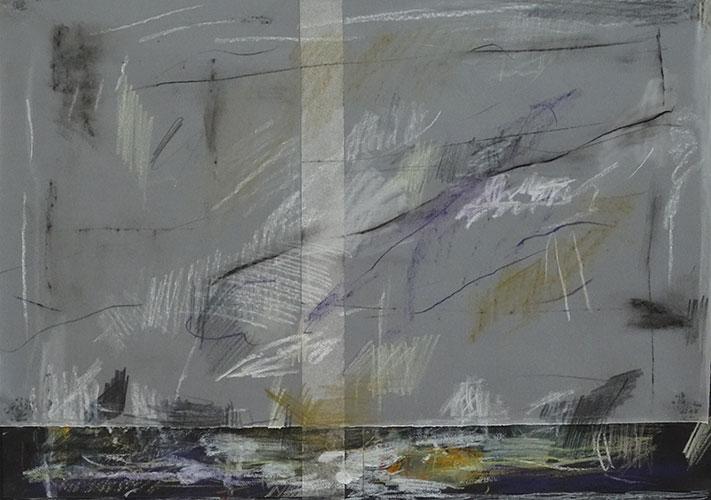 Danielle Vidal - z.t. kleurpotlood en collage op papier 29,7 x 42 cm € 450,-