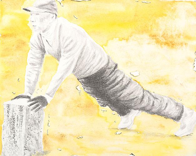 Jos van der Sommen - De strekking potlood / aquarel op papier 24 x 30 cm € 450,-