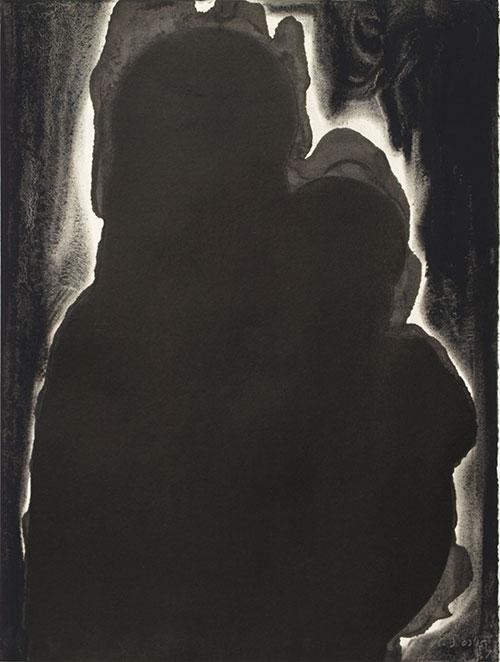 Kim Streur - Zwarte Madonna inkt, pigmentpoeder op papier 40 x 30 cm € 300,-