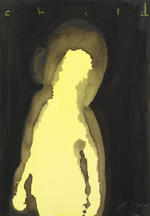 Kim Streur - z.t. inkt, pastelkrijt, pigmentpoeder op papier 29,7 x 21 cm € 180,-