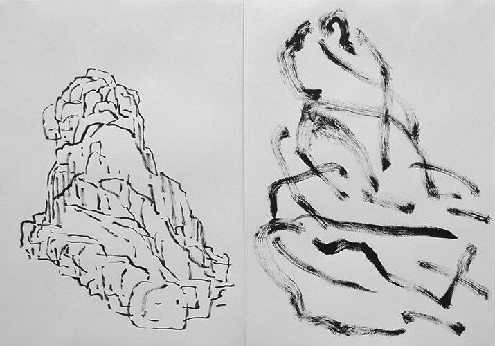 Laurien Sneep - Naar Japans tekenvoorbeeld 5 en 28 inkt op papier 2 x 29,7 x 21 cm € 320,-