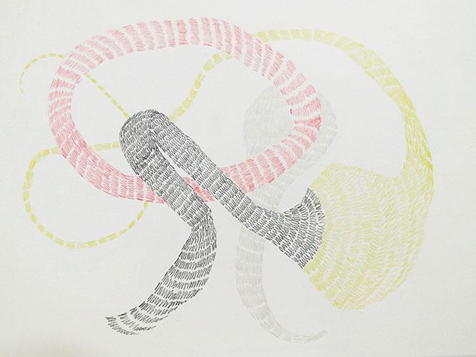 Lisa Smithson - Hypnogogic Drawing 2 (kleur)potlood op papier 21 x 29,7 cm € 100,-