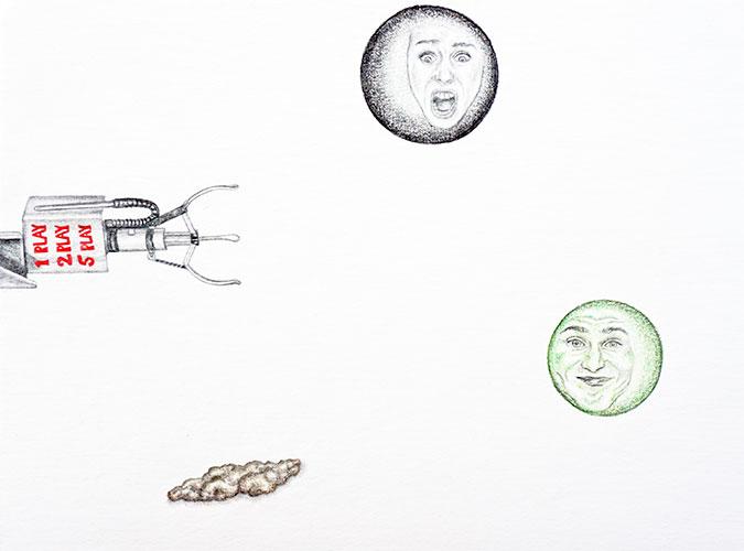 Marthe Zink - Fair Enough? gemengde techniek op papier 24 x 32 cm € 500,-