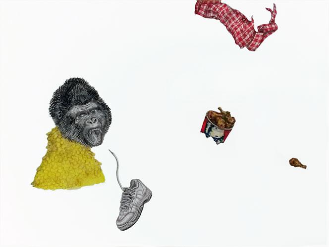 Marthe Zink - Outbreak of madness gemengde techniek op papier 24 x 32 cm € 500,-