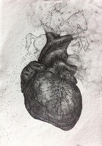 Sabine Liedtke - Herz VII potlood op papier 21 x 15 cm €150,-